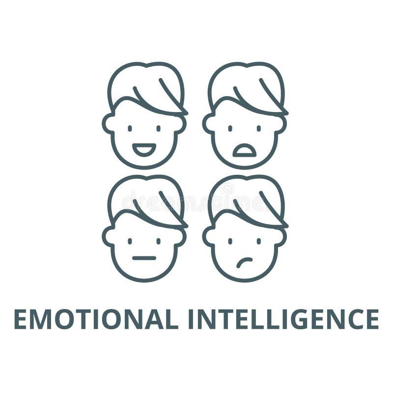 Emocjonalna inteligencja wektoru linii ikona, liniowy pojęcie, konturu znak, symbol ilustracji
