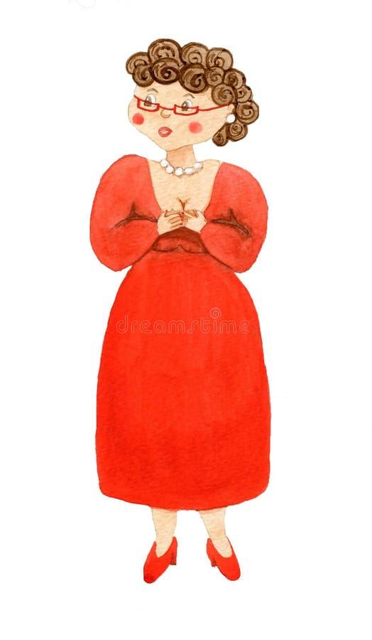 Emocjonalna kobieta w czerwieni sukni obraz stock