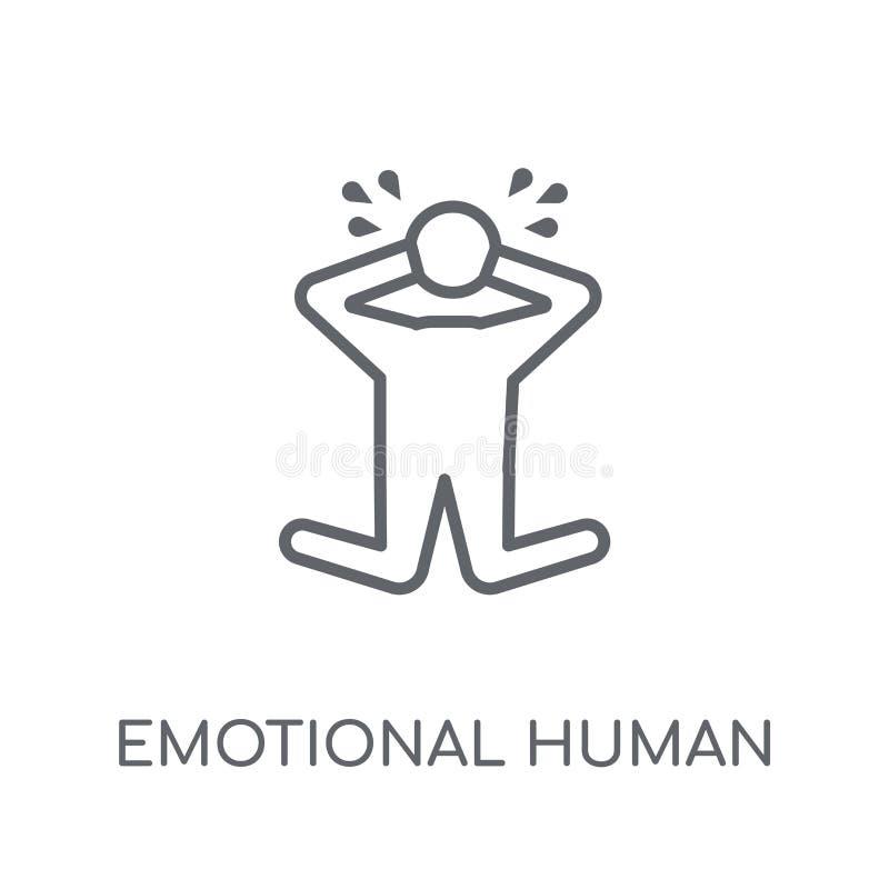 emocjonalna ludzka liniowa ikona Nowożytnego konturu emocjonalny ludzki logo royalty ilustracja