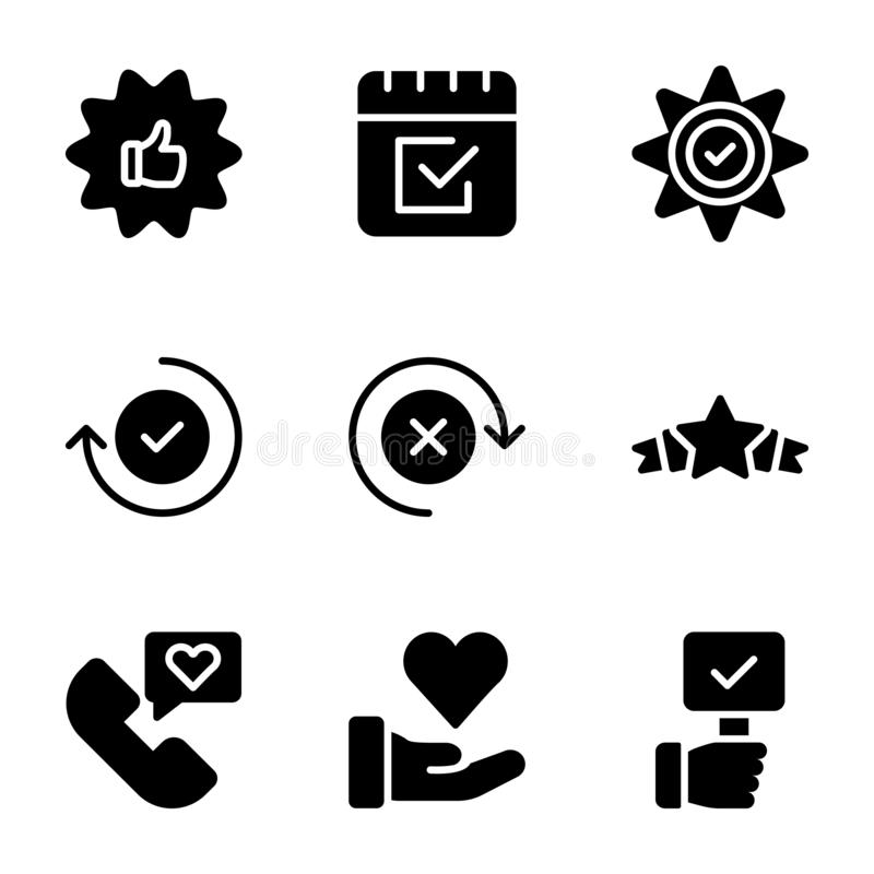 Emocjonalna opinii i listy kontrolnej ikon Stała paczka ilustracji