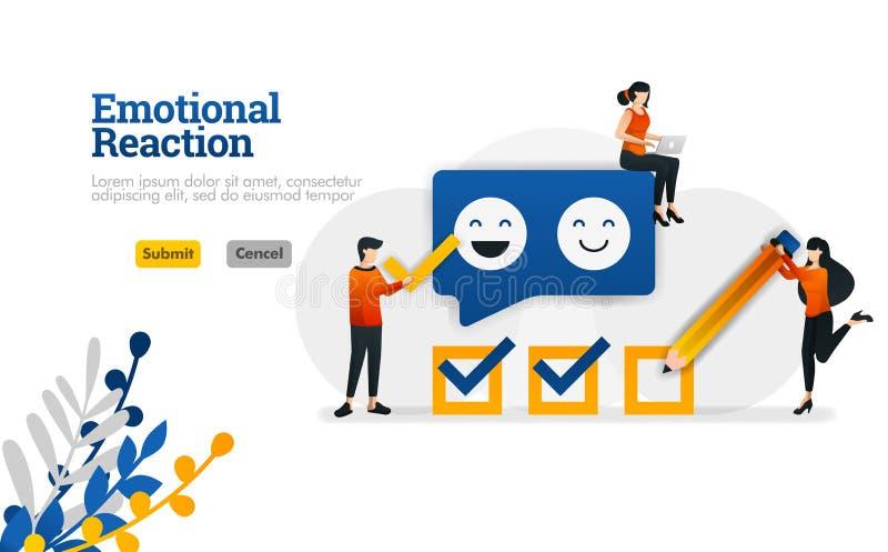 Emocjonalna reakcja dla użytkowników i podaniowych przedsiębiorców budowlanych marketingowy i reklamowy wektorowy ilustracyjny po ilustracji