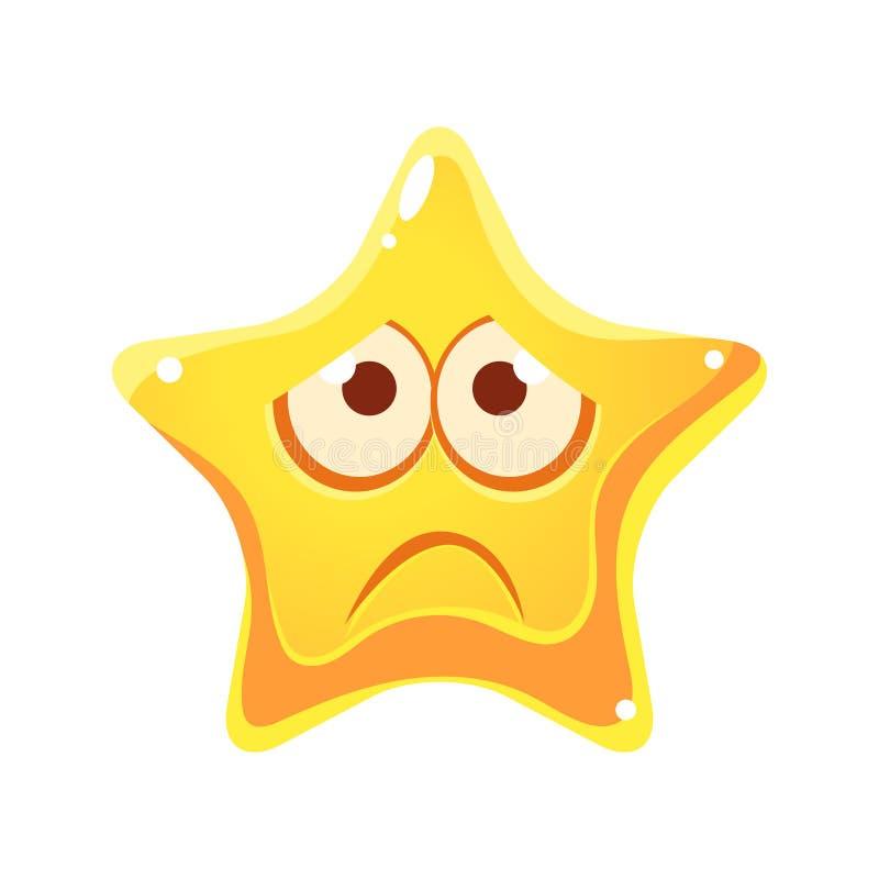 Emocjonalna twarz kolor żółty gwiazda, smutny i nieszczęśliwy, postać z kreskówki ilustracji
