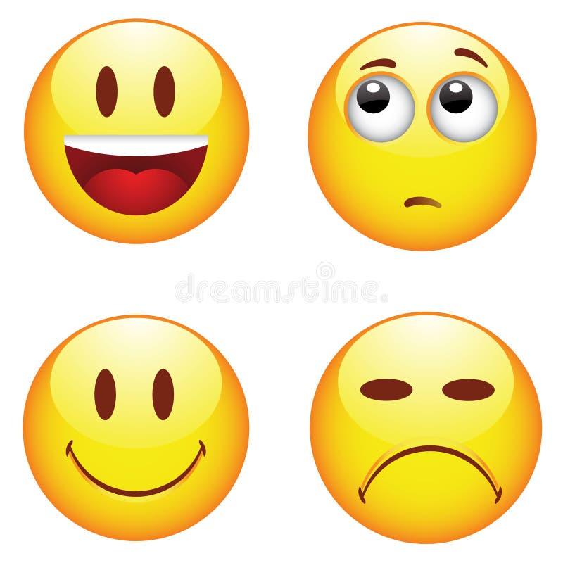 Emocjonalne szczęśliwe smutne twarze royalty ilustracja