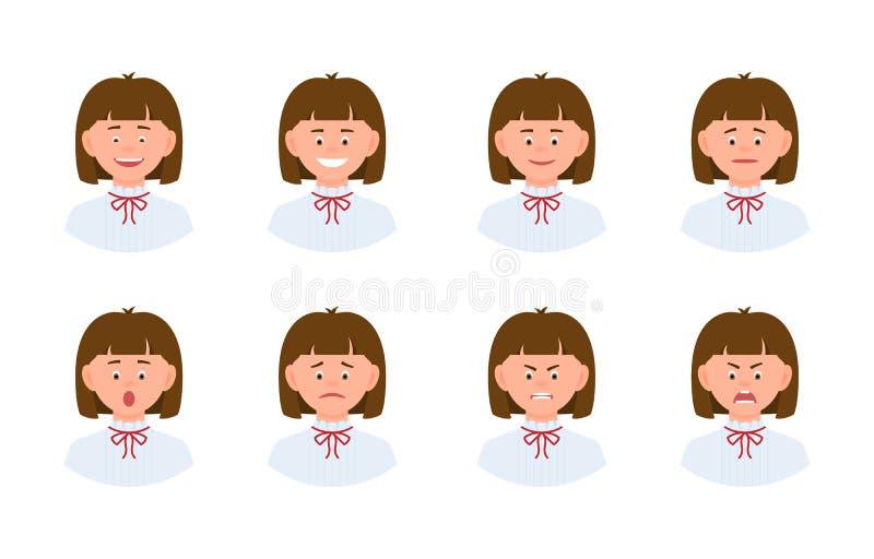 Emocjonalnej twarzy postaci z kreskówki kobiety projekta młody biurowy set ilustracji