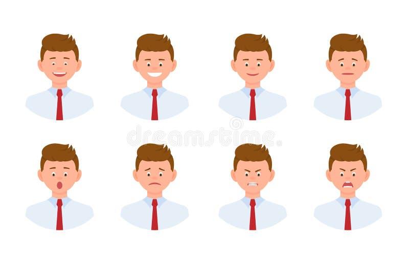 Emocjonalnej twarzy postaci z kreskówki mężczyzny projekta młody biurowy set royalty ilustracja
