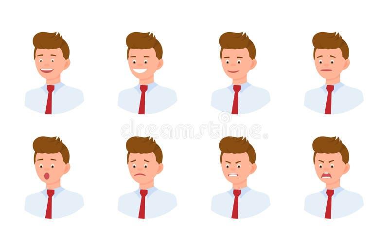 Emocjonalnej twarzy 3/4 widoku postaci z kreskówki mężczyzny projekta młody biurowy set royalty ilustracja