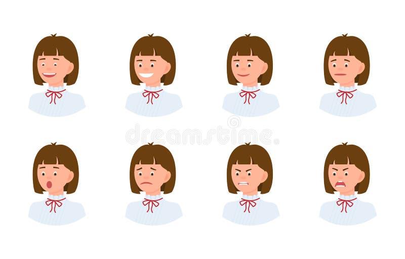 Emocjonalnej twarzy 3/4 widoku postaci z kreskówki kobiety projekta młody biurowy set ilustracji