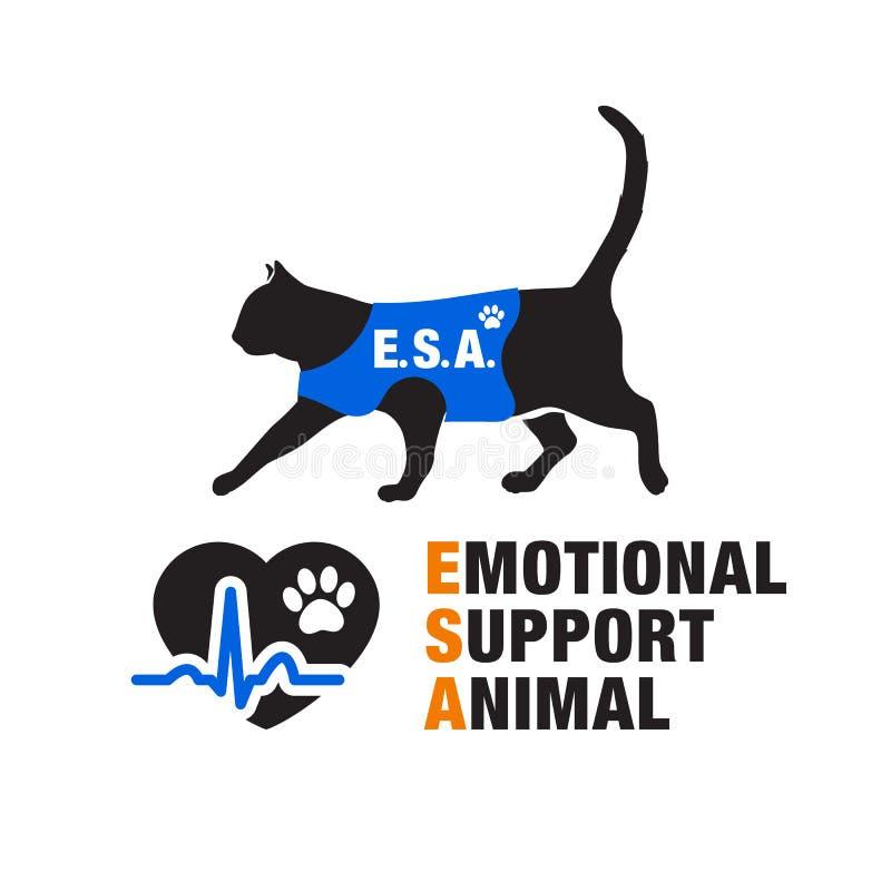 Emocjonalni poparcia zwierzęcia emblematy ilustracji