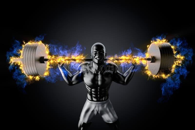 Emocjonalny bodybuilder z płonącym barbell royalty ilustracja