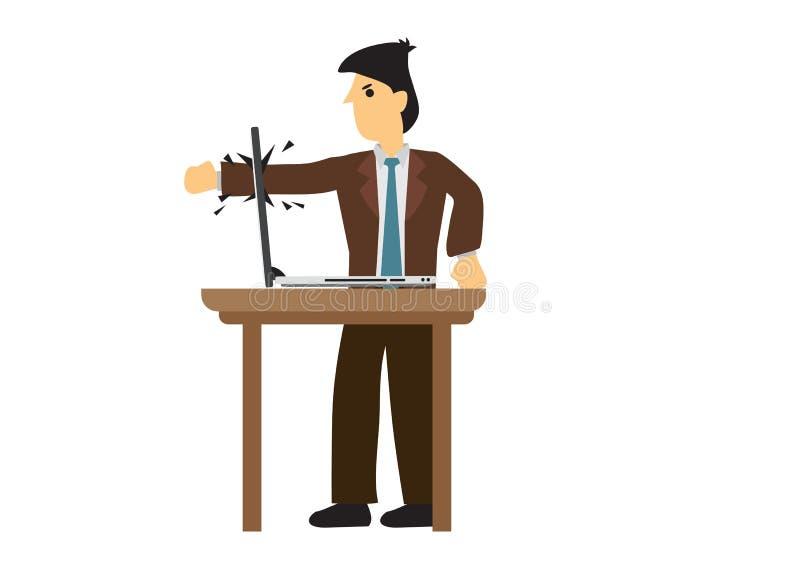 Emocjonalny gniewny biznesmen rozbija jego laptop Pojęcie informatyka problem royalty ilustracja