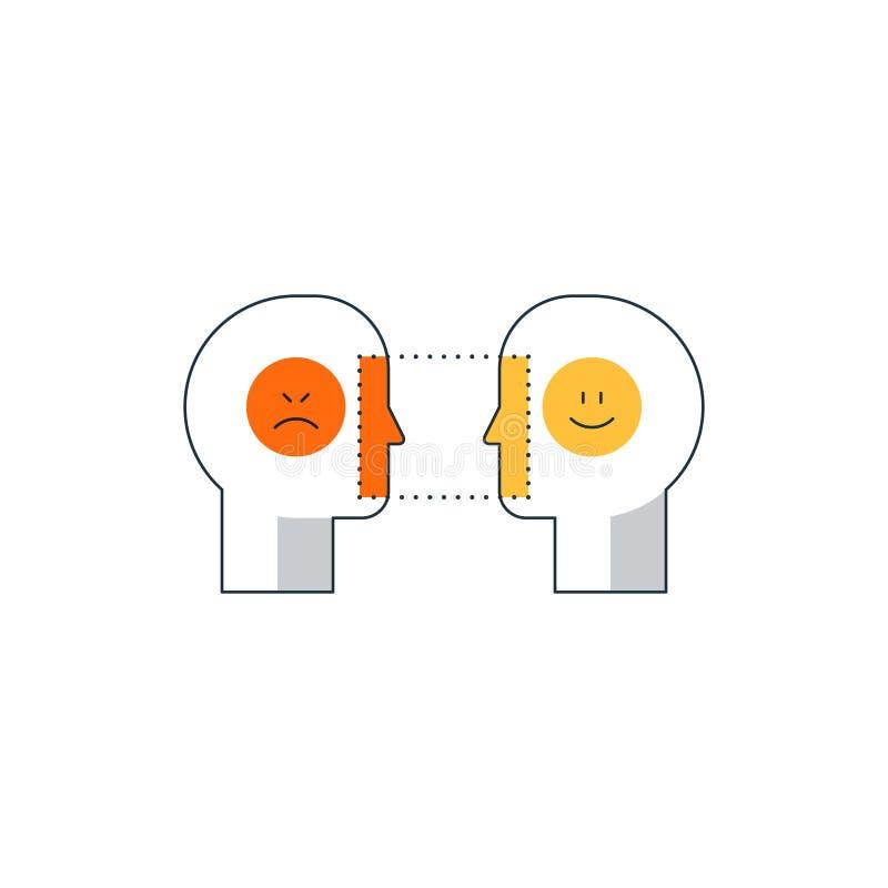 Emocjonalny inteligenci pojęcie, psychologii komunikacja, umysł nauka, reasonin ilustracji