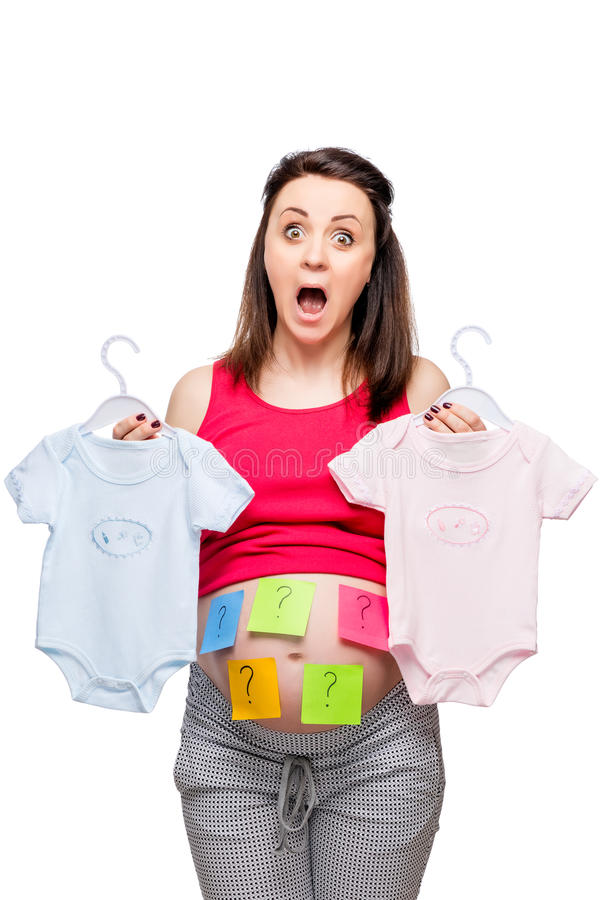 emocjonalny kobieta w ciąży szokujący gdy zakłada out płeć zdjęcia royalty free