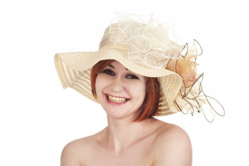 Emocjonalny portret nagi kapelusz na białym tle i dziewczyna fotografia royalty free
