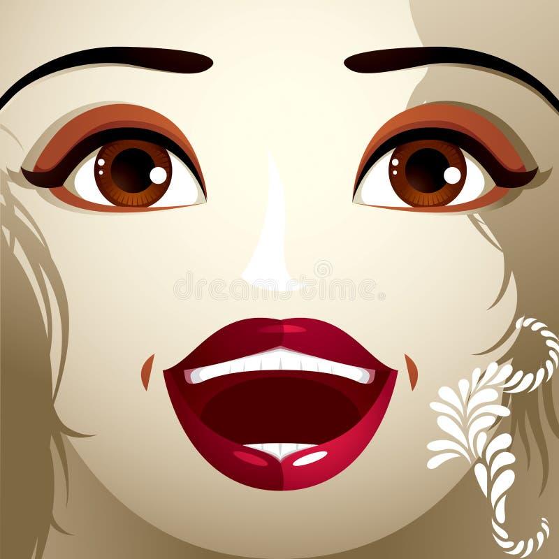 Emocjonalny wyrażenie na twarzy śliczna dziewczyna piękne ilustracja wektor
