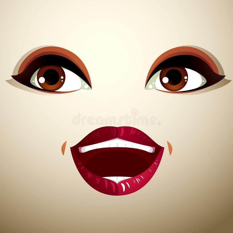 Emocjonalny wyrażenie na twarzy śliczna dziewczyna Piękny szczęśliwy ilustracja wektor