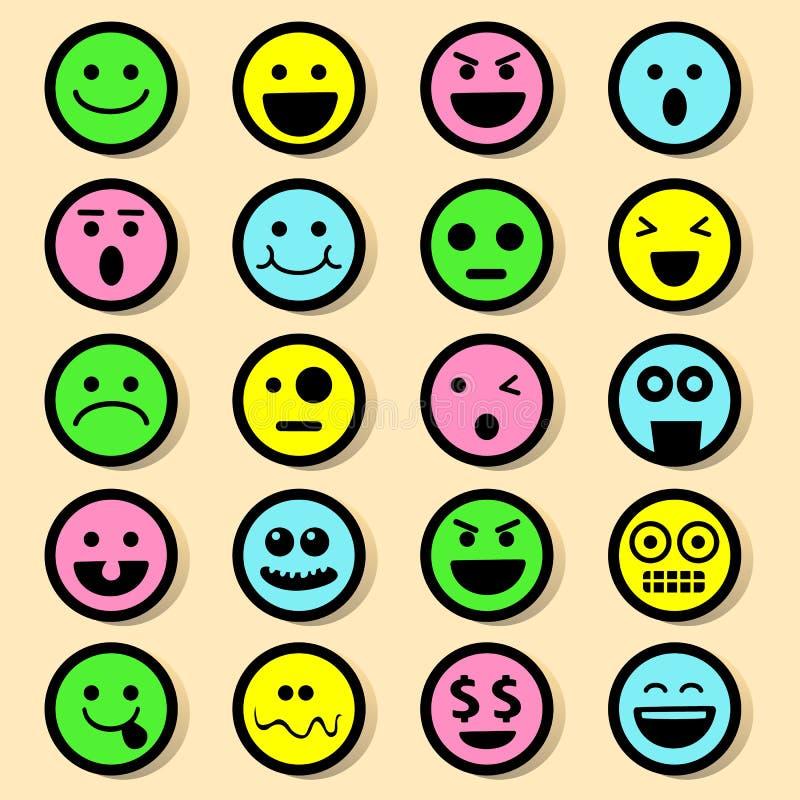 20 Emocjonalnych ikon Ustawiających ilustracji