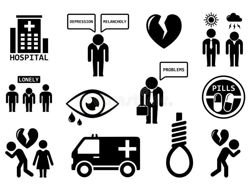Emocjonalnych nieład pojęcia ikony set ilustracja wektor