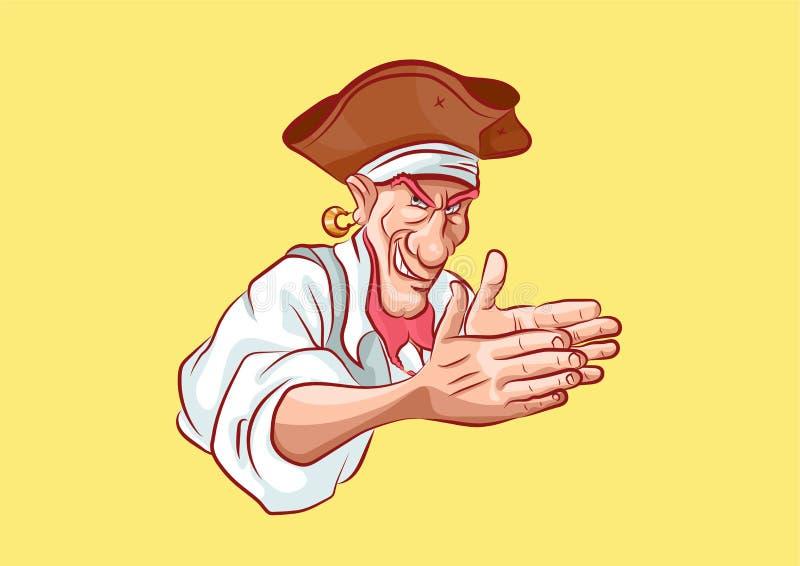 Emoji贴纸海员上尉狡猾摩擦的手 皇族释放例证