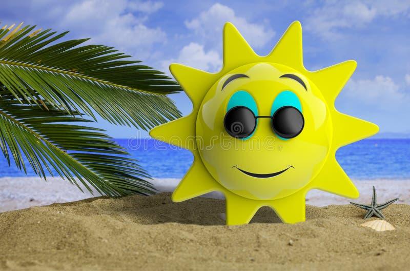 Emoji与微笑,在沙滩和海的黑圆的太阳镜的太阳黄色有棕榈树背景 3d例证 库存例证