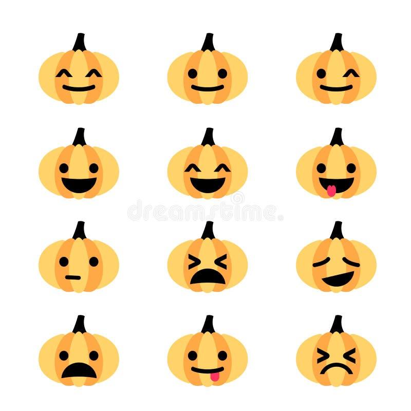 Emoji南瓜象集合 向量例证