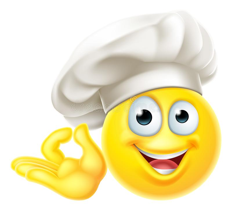 Emoji厨师厨师动画片完善的姿态 向量例证