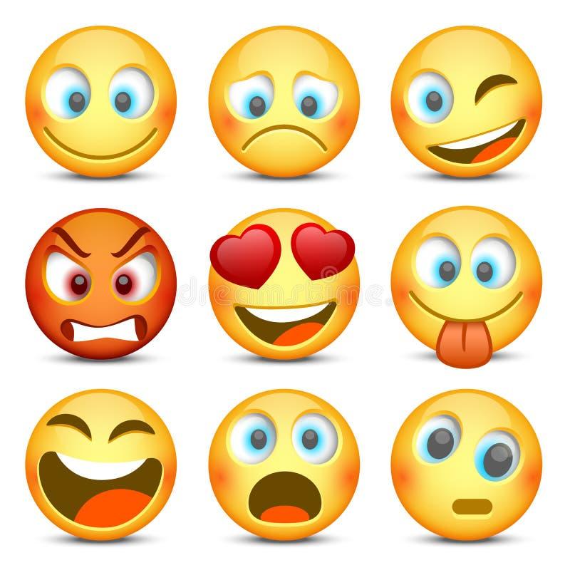Emoji和哀伤的象集合 也corel凹道例证向量 向量例证