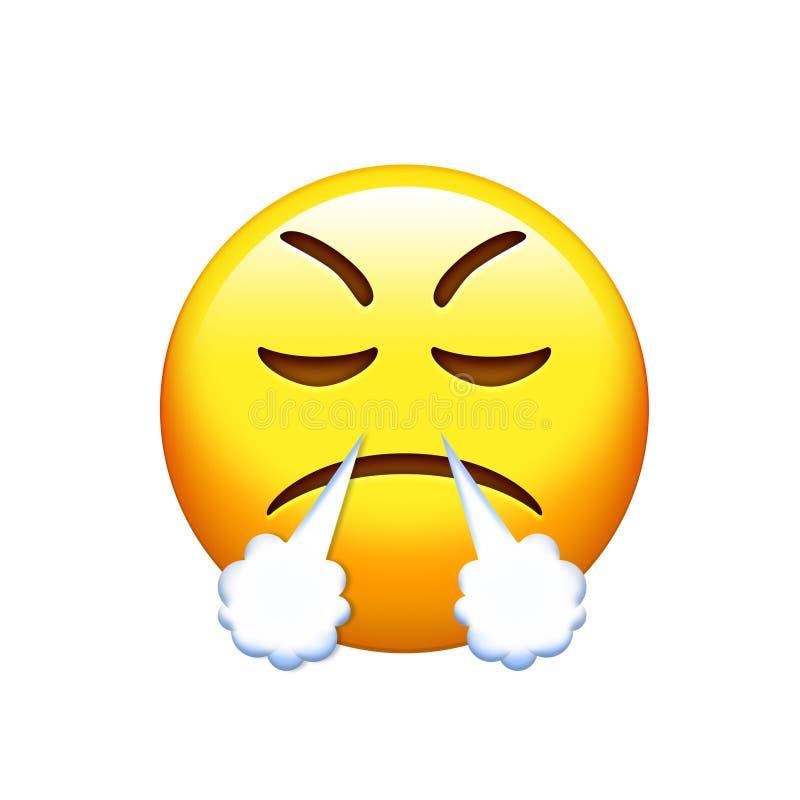 Emoji哀伤,恼怒和感觉的沮丧的黄色面孔象 库存例证