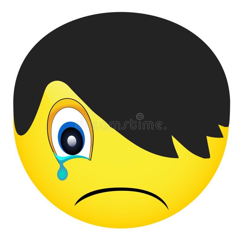 Emoji在白色背景,兴高采烈的面孔, emo人,传染媒介例证隔绝了 向量例证
