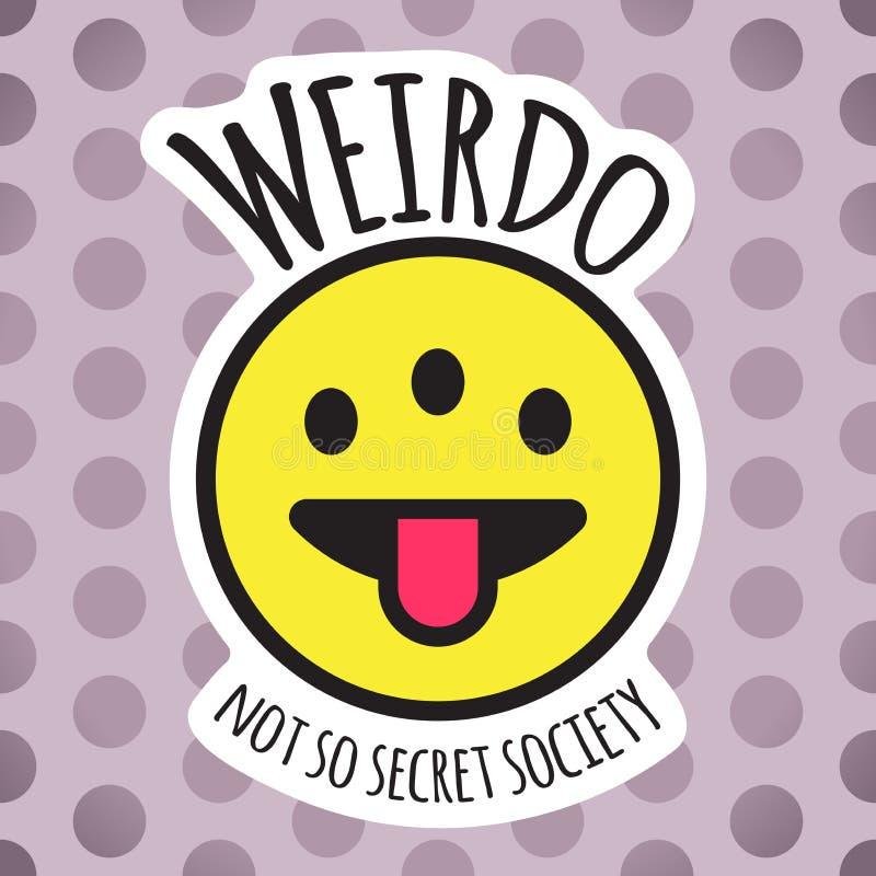 Emoji奇怪三注视滑稽的面孔 古怪的人微笑、贴纸或者补丁设计传染媒介例证 皇族释放例证