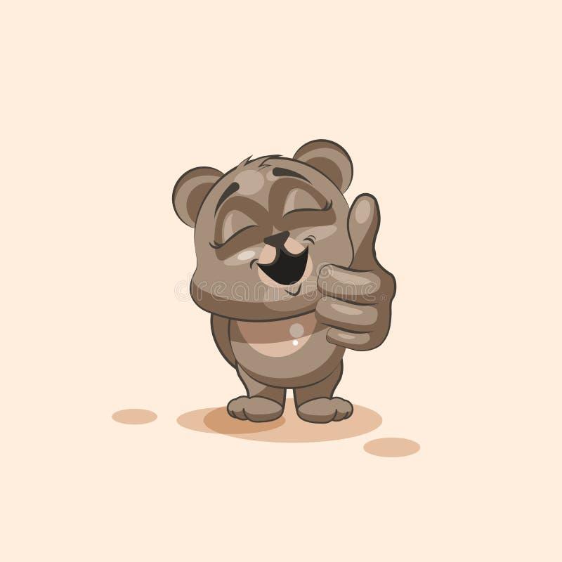 Emoji字符动画片熊批准与赞许贴纸意思号 向量例证
