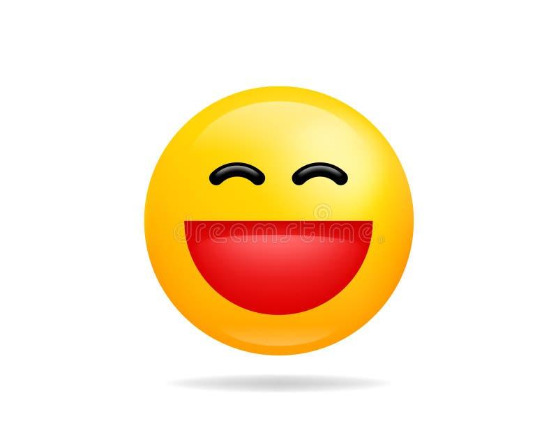 Emoji微笑象传染媒介标志 咧嘴面孔黄色卡通人物 皇族释放例证