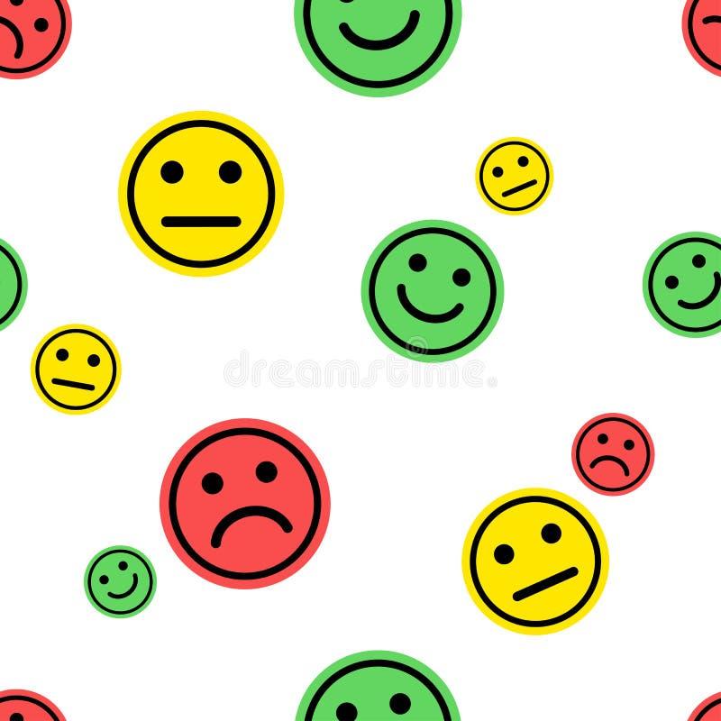 Emoji无缝的样式 红色,绿色,黄色面带笑容意思号正面,中立和消极在白色背景 ?? 向量例证