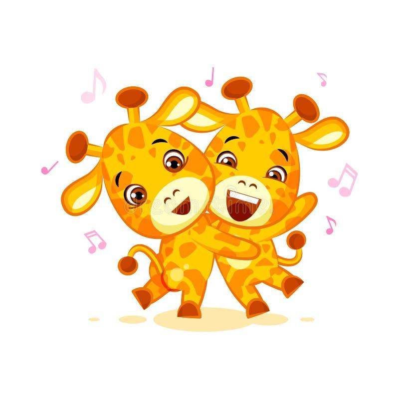 Emoji有日期让舞蹈音乐字符动画片朋友长颈鹿贴纸意思号 皇族释放例证