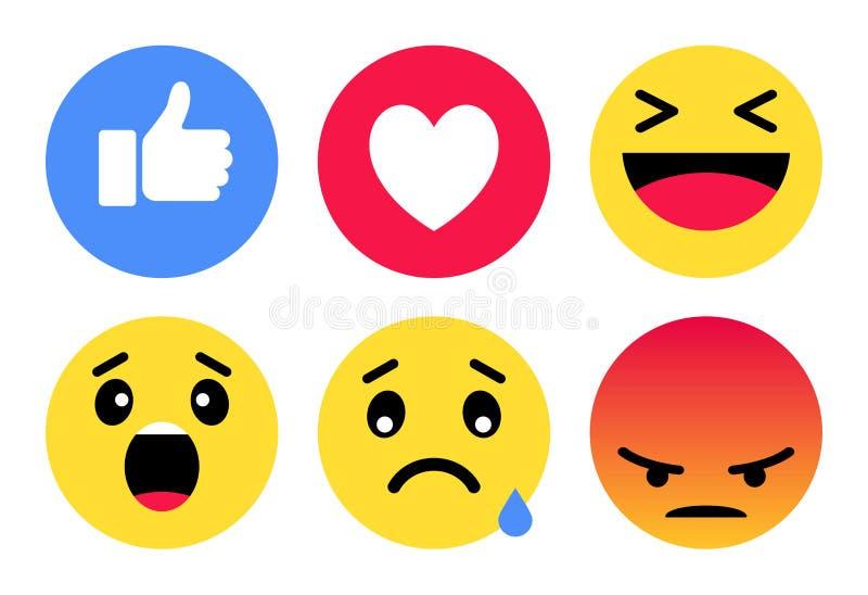 Emoji社会网络微笑标志-计算机象 库存例证