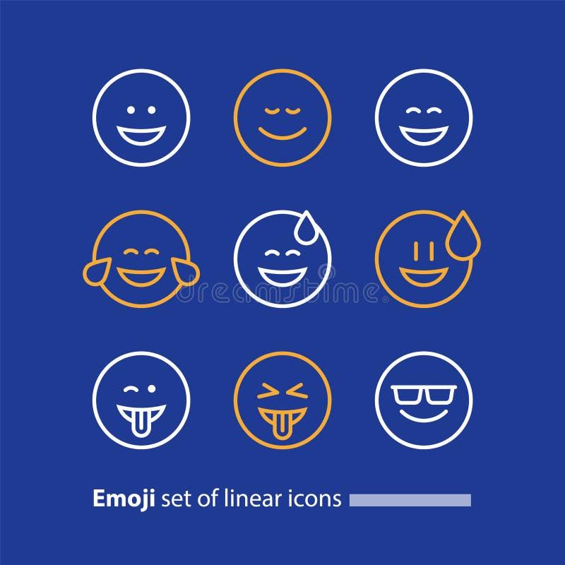 Emoji线象,微笑标志、情感和感觉表达 向量例证