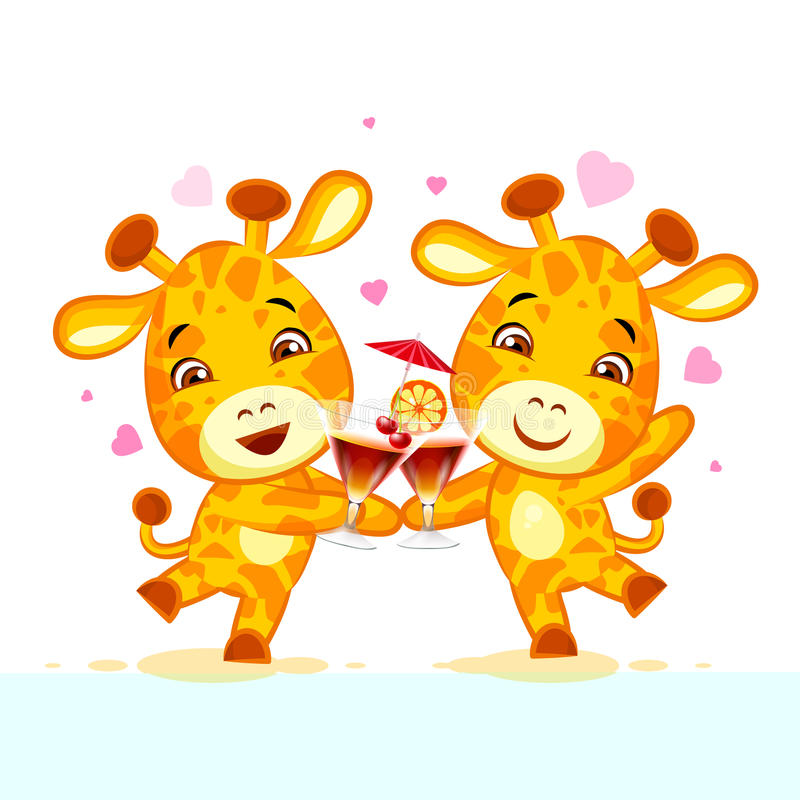 Emoji让有饮料党字符动画片朋友长颈鹿贴纸意思号 库存例证