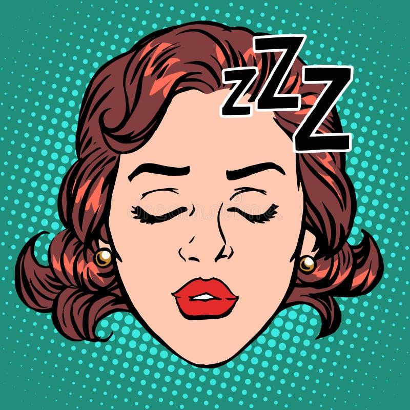 Emoji象妇女面孔睡眠 向量例证