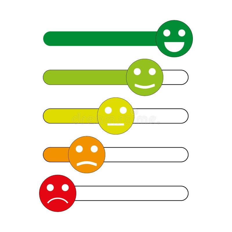 Emoji象,满意程度的率的意思号 五等级面带笑容用于勘测 色的和概述象 向量例证
