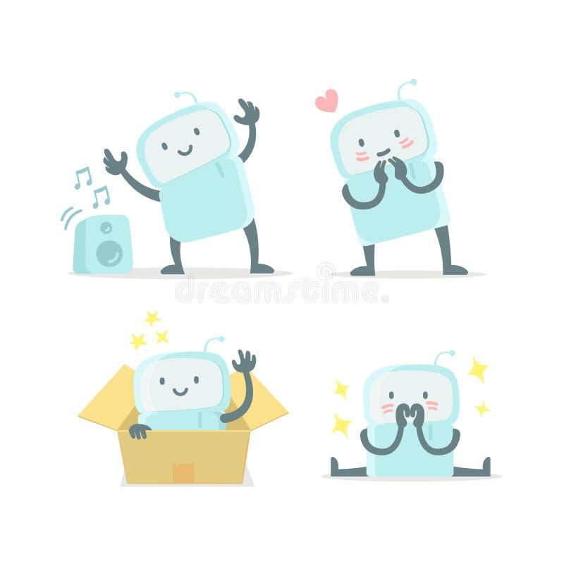 Emoji贴纸集合象 惊奇的婴孩机器人玩具逗人喜爱的小新的机器人和避开 非常逗人喜爱为儿童玩具 平的颜色 皇族释放例证