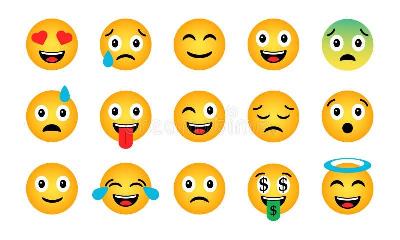 Emoji集合 逗人喜爱的滑稽的情感象 向量例证