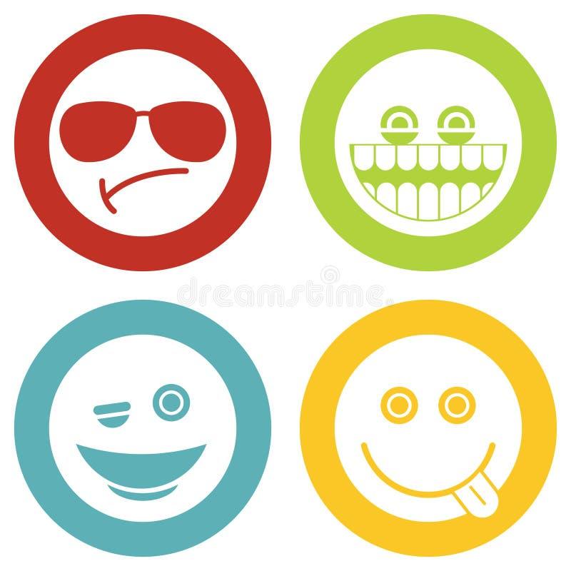 Emoji, ícones do branco dos emoticons ilustração stock