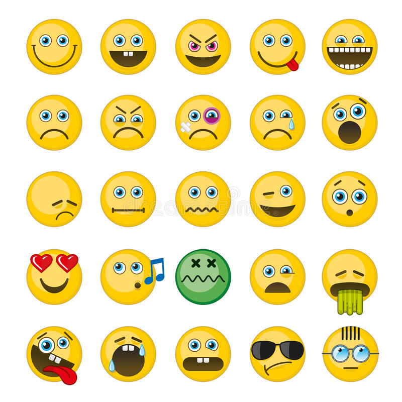 Emoji, ícones do vetor dos emoticons ajustados ilustração do vetor