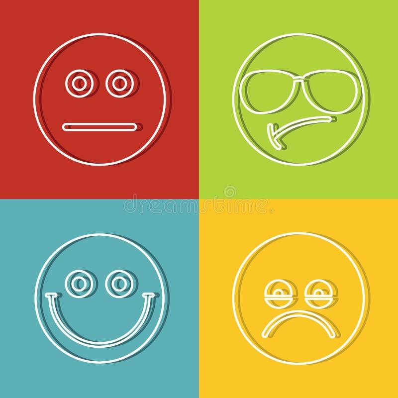 Emoji, ícones dos emoticons ilustração stock