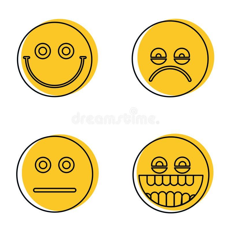 Emoji, ícones dos emoticons na linha estilo ilustração stock