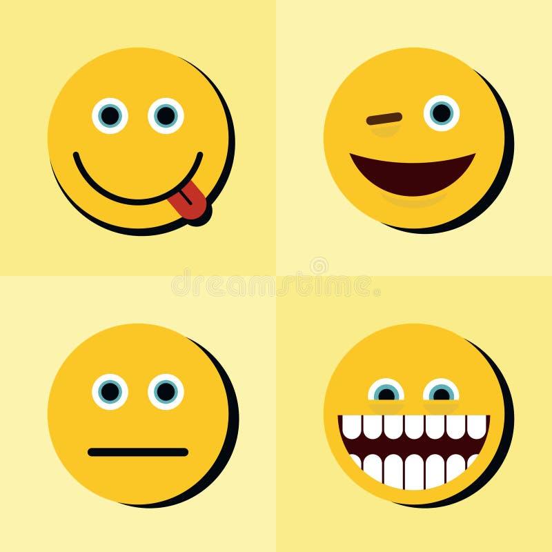 Emoji, ícones dos emoticons no fundo amarelo com sombra preta ilustração royalty free