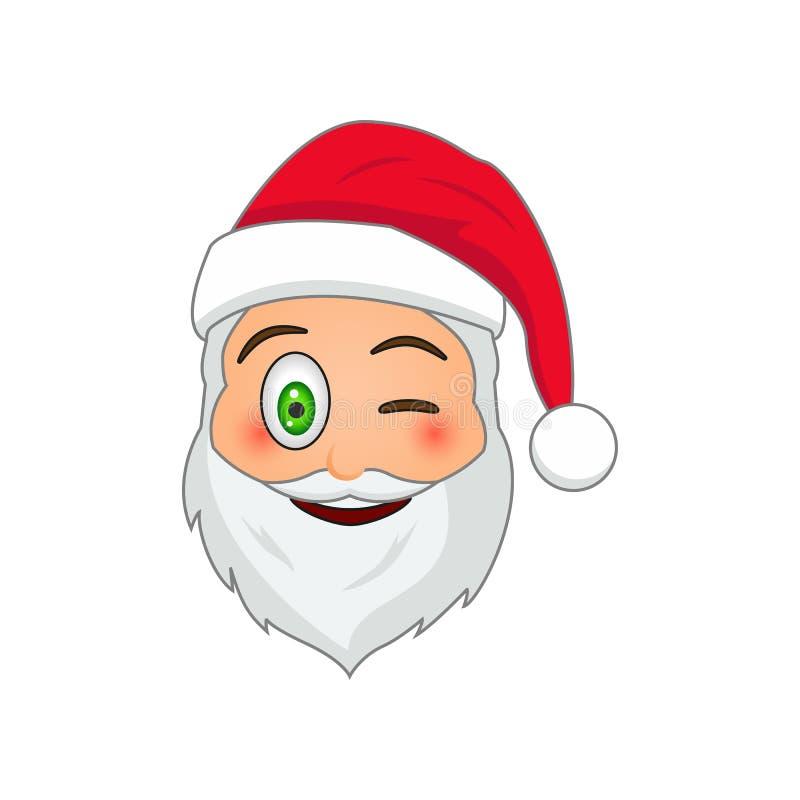 Emoji Święty Mikołaj Zima wakacji Emoticon Santa klauzula w mrugnięcia emoji ikonie royalty ilustracja