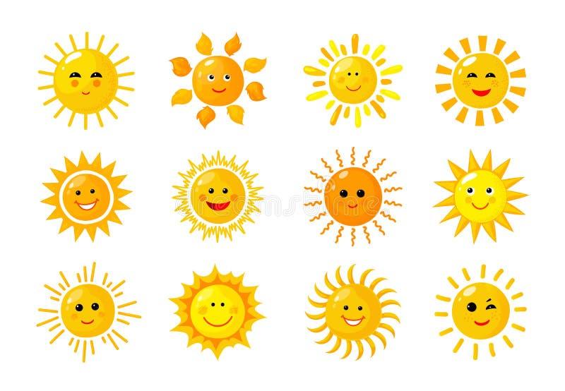 Emoji ήλιων Αστείο ευτυχές πρωί μωρών ήλιων ακτίνων ηλιοφάνειας θερινής άνοιξης emoticons Ηλιόλουστα διανυσματικά ηλιακά εικονίδι ελεύθερη απεικόνιση δικαιώματος