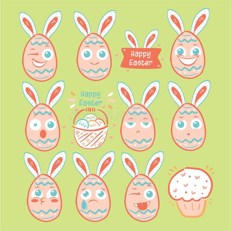 Emoji αυγών ημέρας Πάσχας, εικονίδια χαμόγελου αυγών καθορισμένα διανυσματική απεικόνιση