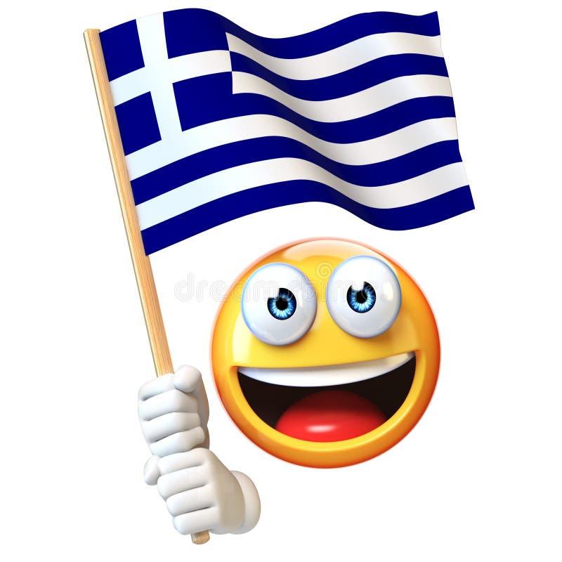 Emoji που κρατά την ελληνική σημαία, emoticon κυματίζοντας εθνική σημαία της τρισδιάστατης απόδοσης της Ελλάδας διανυσματική απεικόνιση