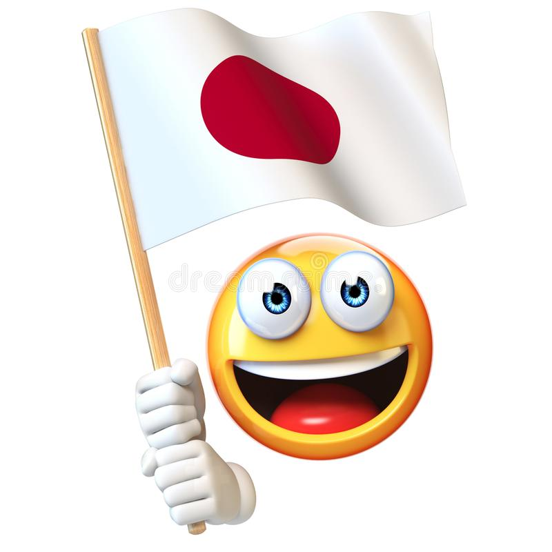 Emoji που κρατά την ιαπωνική σημαία, emoticon κυματίζοντας εθνική σημαία της τρισδιάστατης απόδοσης της Ιαπωνίας ελεύθερη απεικόνιση δικαιώματος